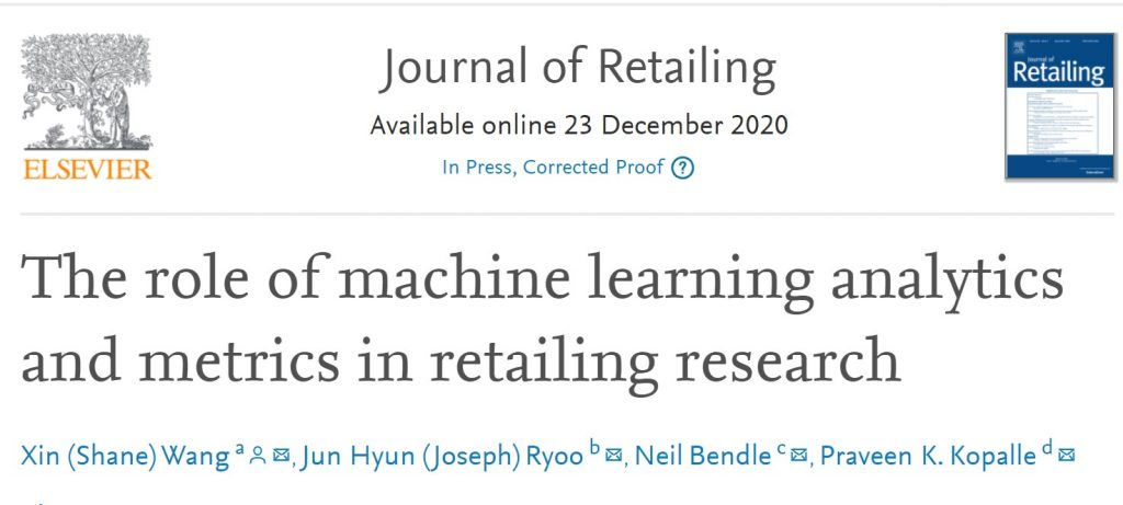 Our Paper At JR On Machine Learning And Retailing